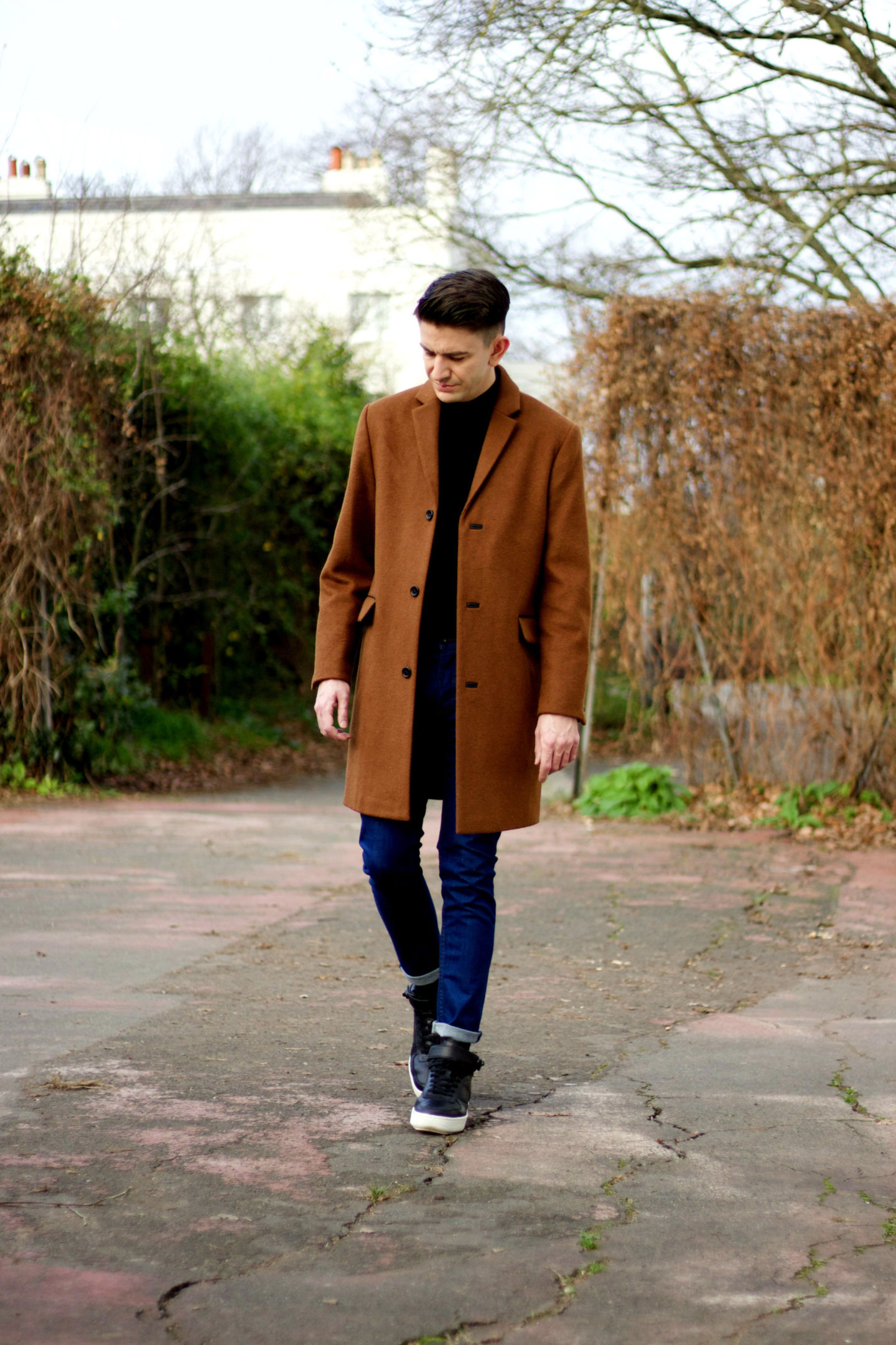 topman brown wool overcoat